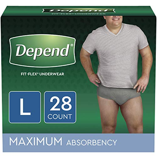 Depend FIT-FLEX Incontinence Underwear for Men, Maximum Absorbency, Disposable, Large, Grey, 28 Count