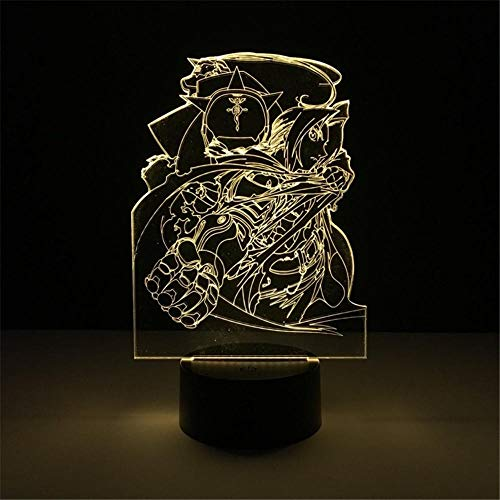 3D Night Light Fullmetal Alchemist Edward Elric Alphonse Elric Anime Lamp Decor 3D Night Light Lamp Table Light Lamparas Color Cambia de Color Birthday Gifts for Children