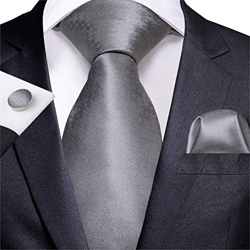 WOXHY Cravate Homme Design de nouveauté en Argent Mariage en Soie Boutons de Manchette Hanky Cravate Ensemble Bussiness Party