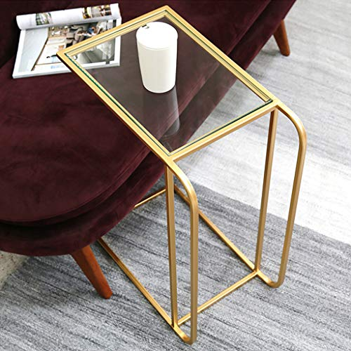 C Table Tempered Glass Top Side Table End Table Laptop Stand, Gold Metal Frame
