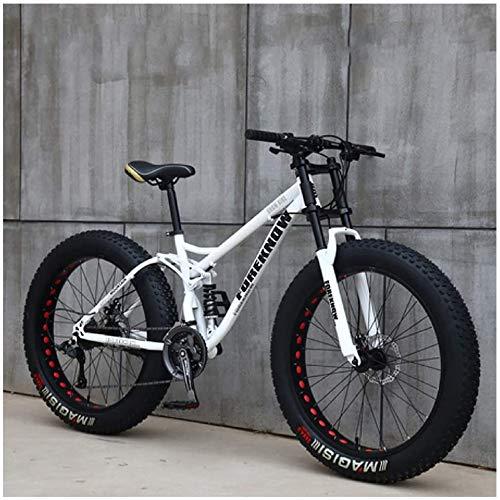 CDFC Mountain Bikes, 26 Inch Fat Tire Hardtail Mountain Bike, Dual Suspension Frame and Suspension Fork All Terrain Mountain Bike,White Spoke,7stage Shift