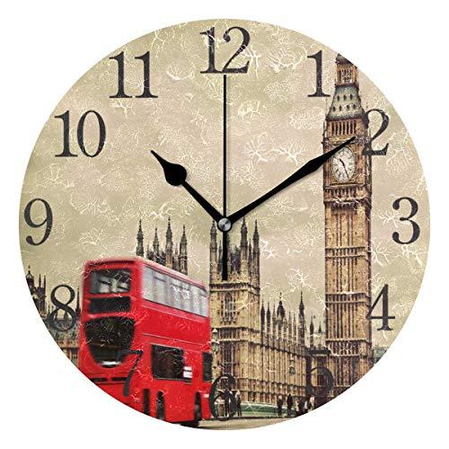 NA Reloj De Pared Redondo Silencioso Sin Tictac,Londres Los Relojes De Pared Redondos del Reino Unido, Relojes Redondos De Los Colores para Las Salas De Estar Hotel,25X25Cm