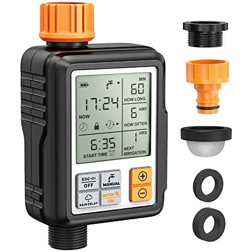 "Homitt Programmable Water Timer,3"" Large Screen/IP65 Waterproof/Child Lock Mode/Auto&Manual Mode/Rain Delay/Upgrade Material,Hose Timer Sprinkler Timer Faucet Digital Watering Timer for Garden Lawn"