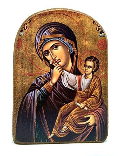 Handgefertigt aus Holz Griechisch Christian-orthodoxen Athos Icon von Virgin Mary/MP2