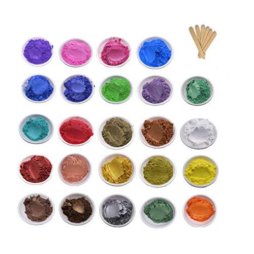 50 Colorante para Resina Epoxi Metalizados Pigmentos polvo para Hacer Slime lápiz labial Bomba de Baño Jabón Hacer Velas DIY Manualidades Pintura Hacer Velas (24 Colores, 3 g)