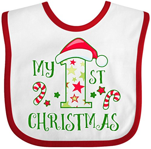 Inktastic - My 1st Christmas with Candy Canes and Stars Baby Bib White/Red 2d913