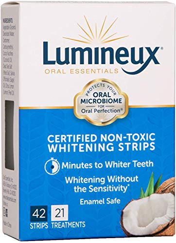 Lumineux Teeth Whitening Strips by Oral Essentials - 21 Treatments Dentist Formulated and Certified Non Toxic - Sensitivity Free - Whiter Teeth in 7 Days - NO Artificial Flavors, Colors, and SLS Free