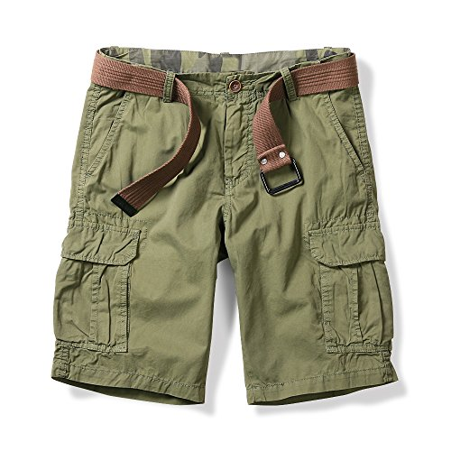 OCHENTA Men's Lightweight Cargo Shorts with Multi Pockets Casual Wear Solid Green 38