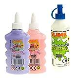 Nice Group - Slime Glue Pastel, kit 2 colas surtidos y 1 activador.