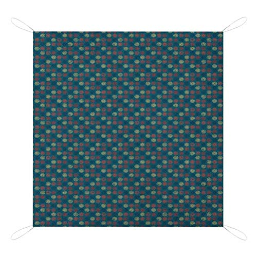 Buy Discount Geometric Waterproof Picnic Blanket, Blue Toned Background with Warm Colored Bullseye P...