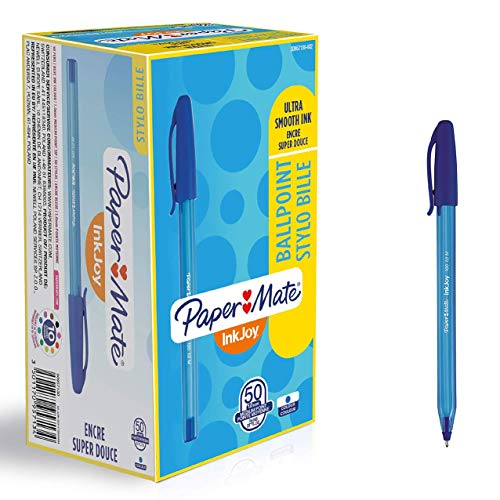 PaperMate S0957130 - Bolígrafo con capuchón, punta media de 1mm, caja de 50, color azul
