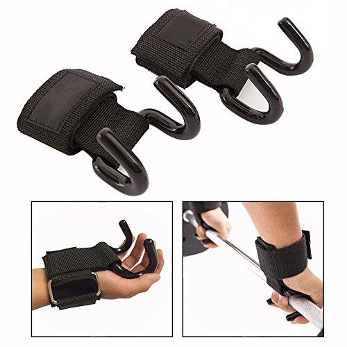 Cisixin Zughilfen mit Handgelenk,Gewichtheben Haken für Gezieltes Krafttraining(Schwarz)