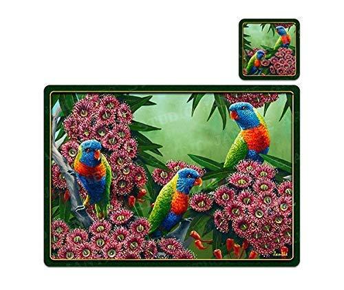 6 PC Regenbogen Lorikeet Vogel Tier Vinyl Esstisch Tischsets + Untersetzer Dekor-TM004