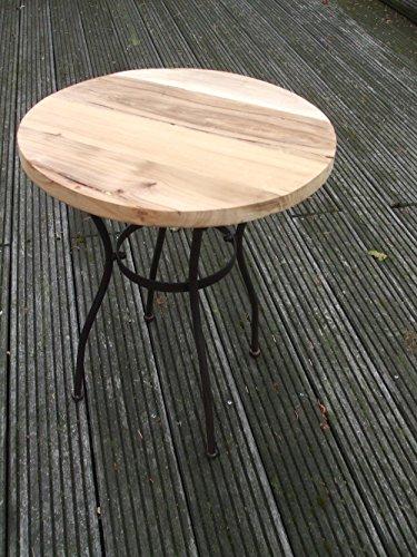 Deko-Impression Eisentisch, Beistelltisch, Ablagetisch, Holzplatte,massiv, rund, 45 cm