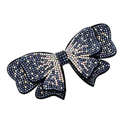 Vintage Französische Haarnadeln Kristall Strass Schmetterling Haarspange Barrette 8,4x9,7 cm - Blau
