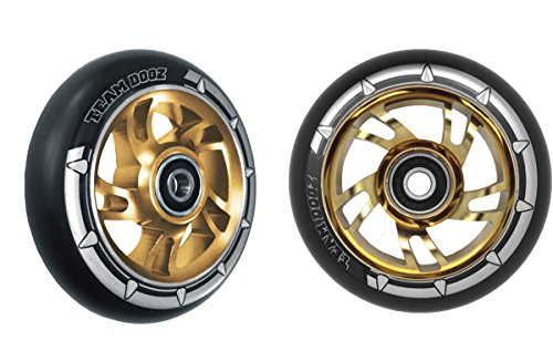 Team Dogz, Pro Swirl, Tretroller-Räder, 100 mm, grüner Aluminiumkern, schwarzes Polyurethan, Goldkern