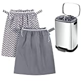 Teamoy 2 Pack Pail Liner for Cloth Diapers, Reusable Diaper Pail Bag with Elastic Band and Drawstring, Fits for 13.2 Gallon Trash Can and Diaper Pails, Gray Chevron+Slate