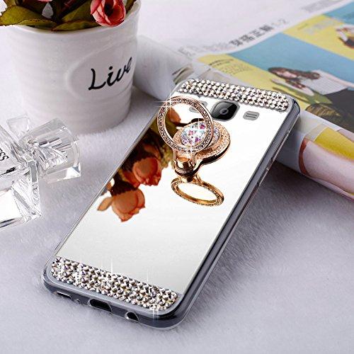 EINFFHO Cover Samsung Galaxy J52015, [con Strass Supporto Anello] Briller Rhinestone Diamante Trucco placcatura Riflettente Specchio Cover Custodia Custodia per Samsung Galaxy J52015