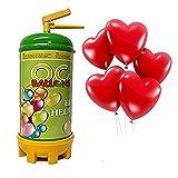 Ocballoons–Bombona de helio desechable y 16globos con forma de corazón