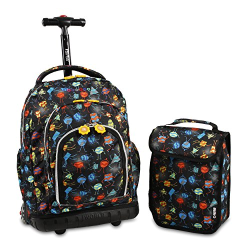 J World New York Kids' Lollipop Rolling Backpack & Lunch Bag Set, Party Mobs, One Size