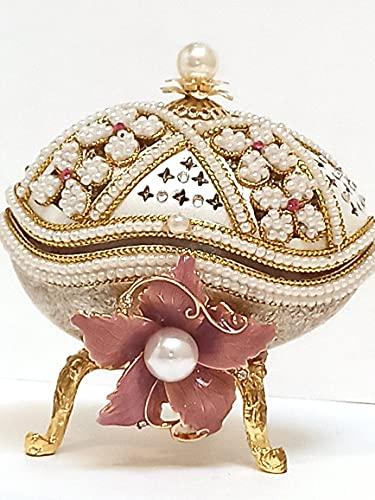 Joyas de perlas rosadas únicas Fabergé estilo huevo Baratija Caja de música rusa y pulsera de fósforos 2ct Cesta de regalo para mamá nueva después del nacimiento Cumpleaños de la madre Aniversario