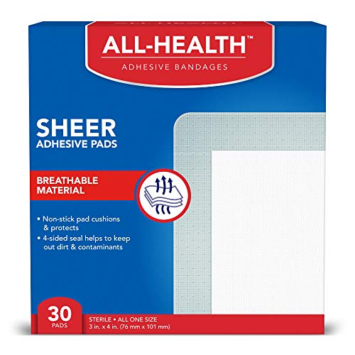 All Health Sheer Adhesive Pad Bandages, 3 in x 4 in, 30 ct   Extra Large Comfortable Protection for First Aid and Wound Care