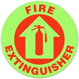 Anti-Slip Fire Extinguisher Glow Safety Floor Sign, 17-Inch x 17-Inch