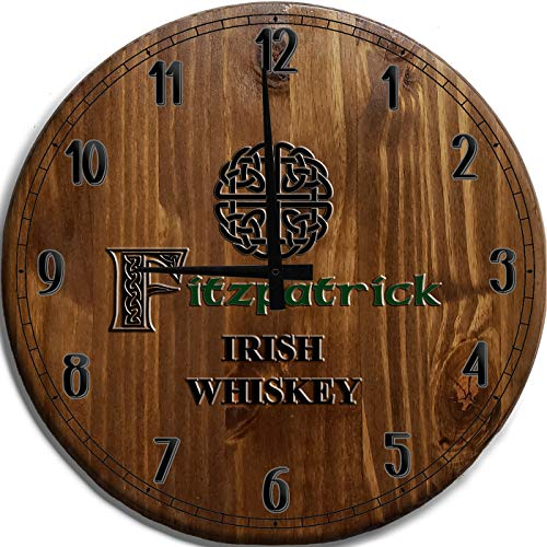 Mnk Large Wall Clock 24 Inch Irish Celtic Knot Last Name Bar Sign Home Décor Brown Wall Decor
