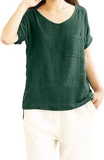 Aniywn Women Loose Cotton Linen Pocket Short Sleeve Pullover Tee Ladies Plus Size Tunic Henley Tops