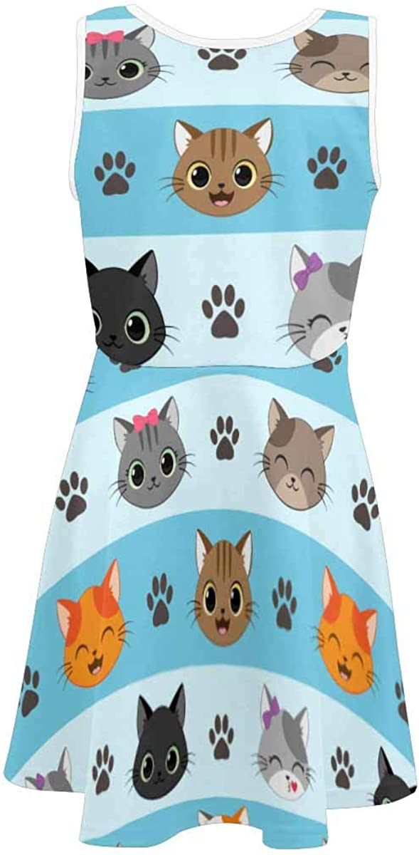 INTERESTPRINT Girls Sleeveless Dress Casual Floral Party Dress for Kids 4-13 Years Cute Happy Cats M