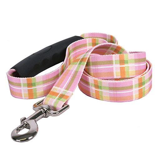 Yellow Dog Design Southern Dawg Madras Pink Dog Leash with Comfort Grip Handle-Medium-3/4