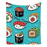 CUXWEOT Custom Blanket with Name Text,Personalized Cute Sushi Super Soft Fleece Throw Blanket for Couch Sofa Bed (50 X 60 inches)
