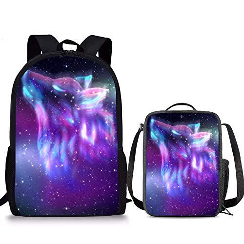 Nebula Galaxy Wolf Sac à dos 2 pièces Boîte à déjeuner 43,2 cm Sac à déjeuner pour enfants Pour garçons filles et garçons