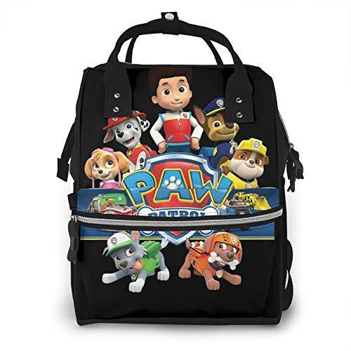 Paw Pa-trol - Mochila de pañales de gran capacidad, bolsa de bebé, multifunción, con cremallera, informal, mochila de viaje para mamá y papá, unisex