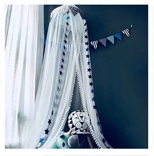 XIAO&Z Dosel para Camas Infantiles Mosquitera Princesa Cuna de Bebés Infantil Habitación Cortina con Cúpula Redonda Canopy Juego, Tienda campaña,decoración la habitación,DIY Luz de Noche,Bunting,Blue