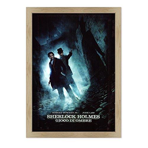ConKrea - Póster original de cine con marco - enmarcado - Sherlock Holmes - Juego de sombras - Dimensiones: 70 x 100 cm