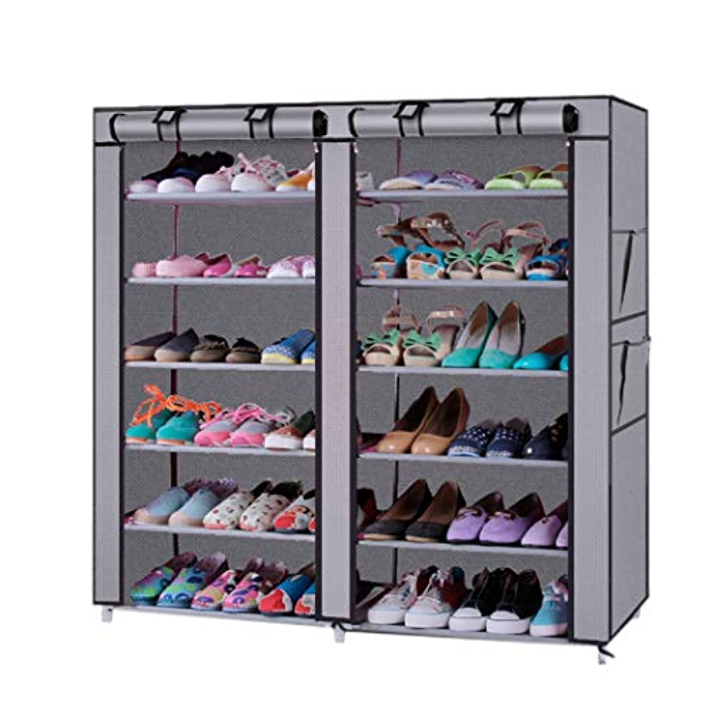 Quklei Shoe Rack Stand Organizer DIY Assembly 6 Layers Non-Woven Fabric Stackable Shoe Rack Storage Shelves, No Tools Required (US Stock) (Gray)