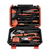 Edward Tools Harden 18 Piece Heavy Duty Tool Set - General Household Tool Kit with Hammer, Pliers, Screwdrivers, Wrench, Knife, Measuring Tape - Heavy Duty Storage Box - For Home, Auto or Electrical R