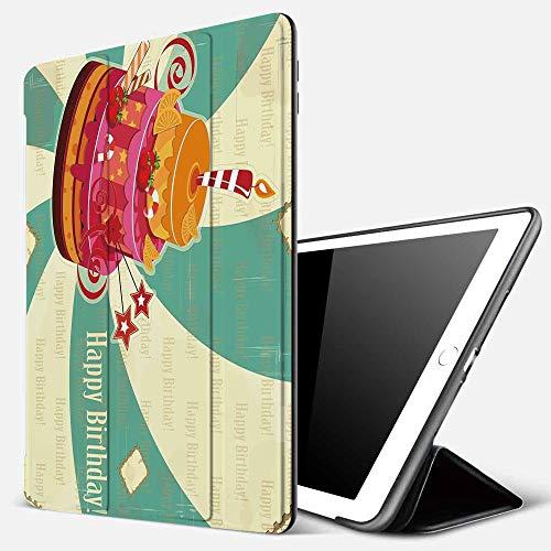 iPad 7 Hülle für iPad 10.2 2019,Geburtstagsdekorationen, köstliche große Kuchen-reife Frucht-Süßigkeiten auf gew,Ultradünne Soft TPU Rückseite Abdeckung Schutzhülle mit,Automatischem Schlaf/Aufwach,
