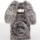 Case for LG K7,Warm Stylish Cute Artificial Rabbit Fur Bling Crystal Rhinestone Rabbit Ear Fluffy Soft TPU Case for LG K7/ LG Tribute 5(Dark Gray)