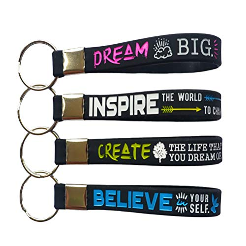 (12-Pack) Dream, Believe, Inspire, Create - Motivational Quote Keychains Silicone Inspirational Gifts and Party Favors