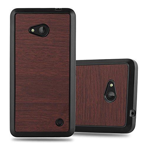 Cadorabo Custodia per Nokia Lumia 640 in Wooden caffè - Morbida Cover Protettiva Sottile di Silicone TPU con Bordo Protezione - Ultra Slim Case Antiurto Gel Back Bumper Guscio