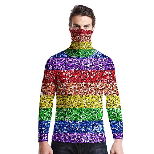 T-Shirt À Manches Longues,Casual Long Sleeve Round Neck Imprimé Abstract Rainbow Stripes Unisex T-Shirt Tops Imprimé Chemisier Body Shirt avec Écharpe Hommes Femmes Automne Hiver Pullover Sweats