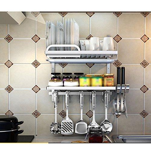 Étagère de cuvette Étagère de cuisine en acier inoxydable Étagère suspendue à mur Porte-vaisselle à 2 plateaux Fournitures de cuisine à tourelle Étagère intégrée (edition : J)