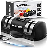 HOKEKI Manual Knife Sharpener for all Blade Types, Professional 2 Stage Kitchen Chefs Pocket Survival Knife Sharpener with Non-Slip Suction Cup Helps Repair, Restore and Polish Blades, Black