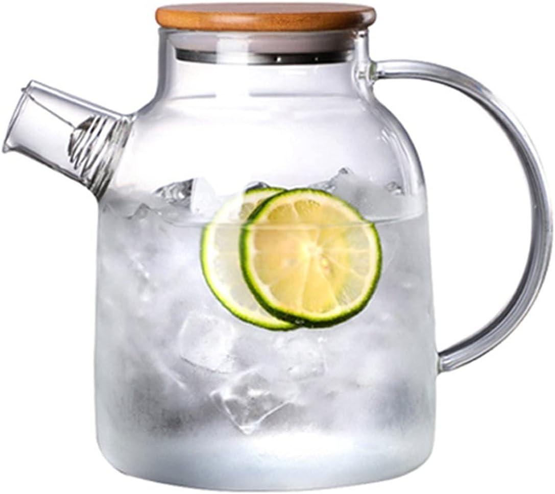 Big Transparent Borosilicate Glass Jug Teapot Heat-Resista Water Easy-to-use Special sale item