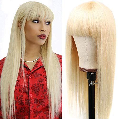 613 Blonde Straight Human Hair Wigs with Bangs Machine Made Wigs Brazilian Virign Straight Wigs 20 Inch Honey Blonde Human Hair Wigs 150% Density