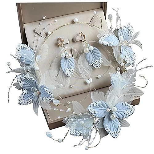 xingguang Tocado nupcial Super Fairy Light Blue Lace Tocado Flor Hoja Diademas Collar Pendientes Boda Nupcial Accesorios para el Cabello