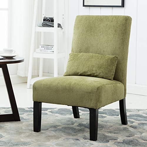 Roundhill Furniture Pisano Spring Green Fabric Armless Contemporary Accent Chair with Kidney Pillow, Single
