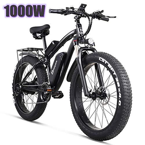 YMWD 1000W E Bike Elektrisches Mountainbike 26-Zoll-Fettreifen Elektrofahrrad Mit 48V 17Ah Lithium-Akku Und Professionell 21-Gang Für Damen Und Herren,Schwarz,One Batteries
